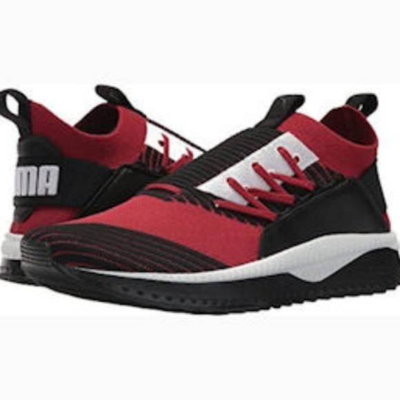 big sale b3191 47d2a PUMA Mens Tsugi Jun Sneaker Red Dahlia Black White
